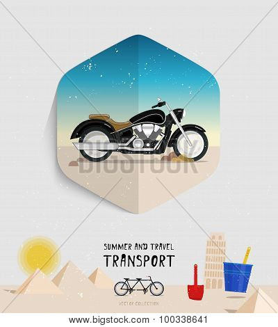 Vector summer and travel transport icon. Flat style. Motorcycle logo illustration.