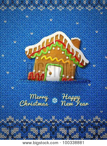 Christmas House Cookie On Knitted Background