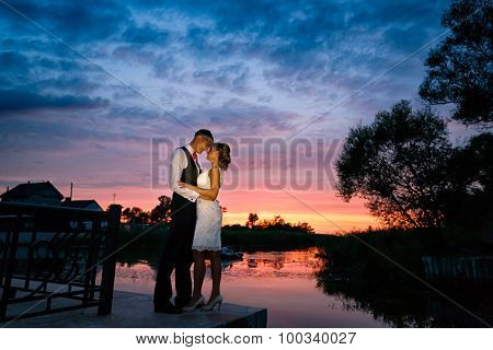 Wedding Couple In Love At Sunset Time