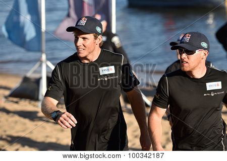 ST. PETERSBURG, RUSSIA - AUGUST 21, 2015: Stewart Dodson of New Zealand (left) and Shaun Mason of UK from the Red Bull Sailing Team of Austria during St. Petersburg stage of Extreme Sailing Series