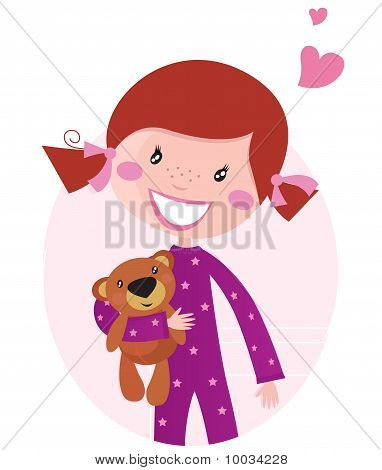 Happy little girl hugging teddy bear isolated on pink background