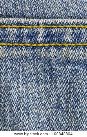 Blue Denim With Stitches Background