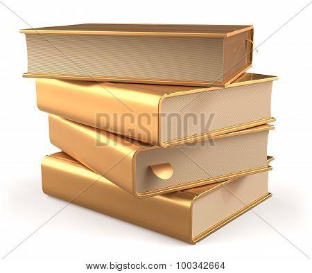 Textbook Stack Gold Book Blank Literature Yellow Golden