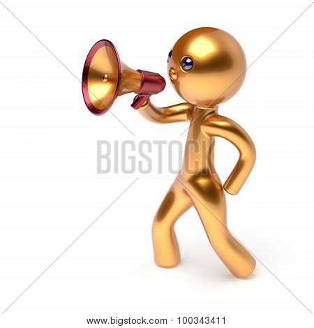 Megaphone Character Man Speaking Bullhorn Making News