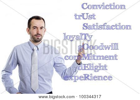 Conviction Trust Satisfaction Loyalty Gooodwill Commitment Delight Experience Customer