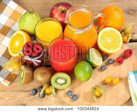 sweet breakfast on wooden table