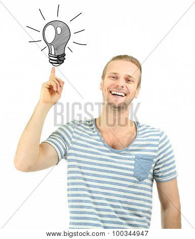 Handsome young man with idea bulb above the head isolated on white