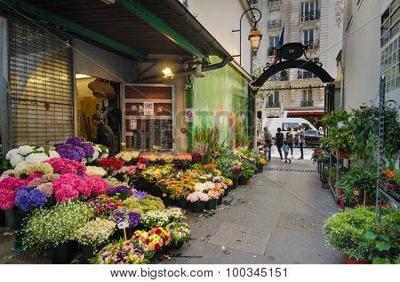 Flowers for sale at an outdoor market in Paris