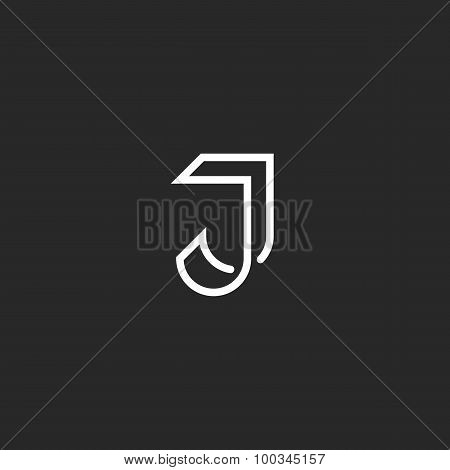 J Letter Logo Monogram, Illusion Crossing Thin Line, Black And White Mockup Emblem For Invitation Ca