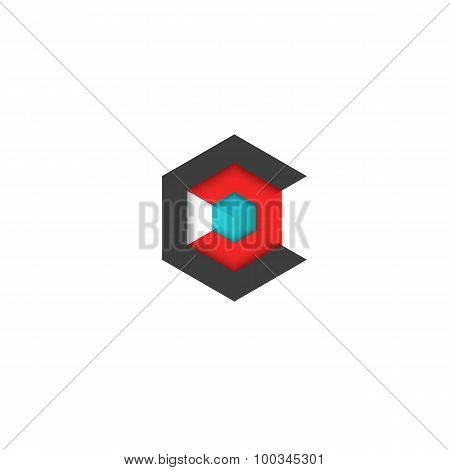 C Logo Cube Isometric, 3D Hexagon Abstract Geometric Technology Symbol, Mockup Business Card Graphic