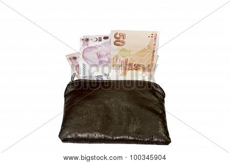 Wallet with turkish lira