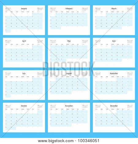 Monthly Calendar Planner For 2016. Print Template Set Of 12 Months. Week Starts Sunday. Vector Illus