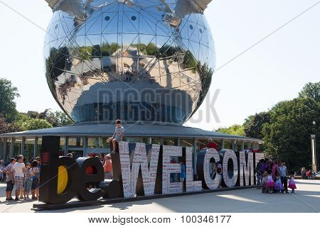 Welcome Sign At The Atomium In Brussels, Belgium
