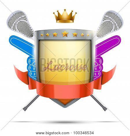 Label for lacrosse sport club or event. Bright premium design.