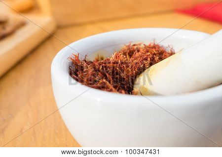 Bombax Ceiba Dried Flowers In White Bowl Opera Is Placed On The Table.
