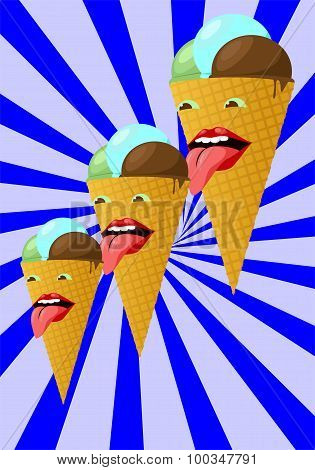 Three Smiling Ice Cream Cone On A Striped Background. Vector