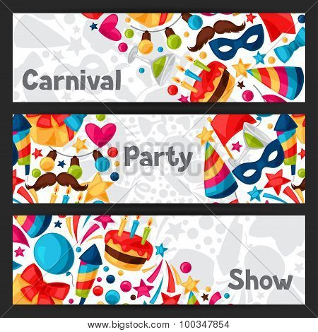 Carnival show and party banners with celebration objects