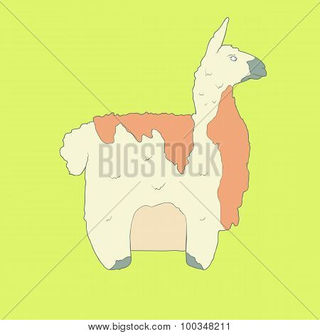 Flat hand drawn icon of a cute lama