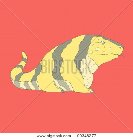 Flat hand drawn icon of a cute golden tegu