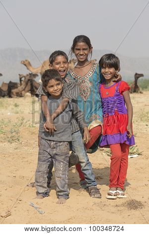 Indian Children In Pushkar, India