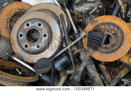 Useless, Worn Out Rusty Brake Discs And Other