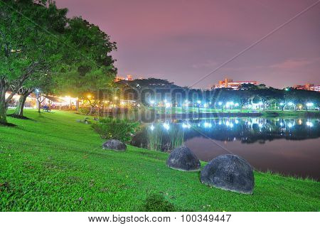 Punggol park with eateries by the pond