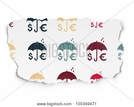 Umbrella icons on Torn Paper background