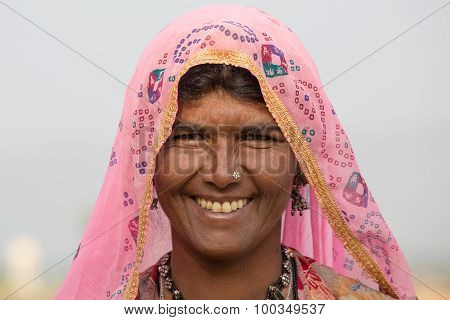 Beggar Indian Woman In Pushkar, India