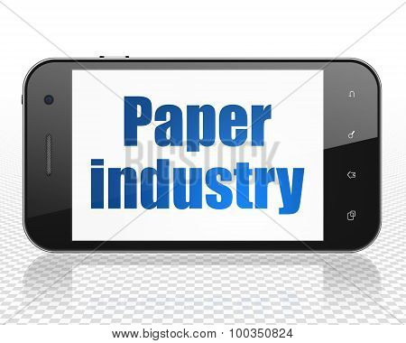 Manufacuring concept: Smartphone with Paper Industry on display