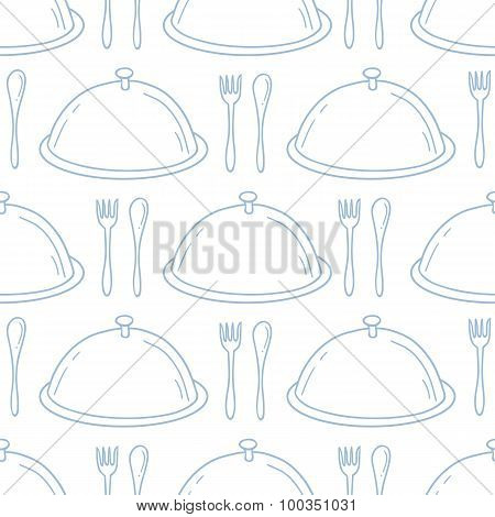 Seamless pattern with hand drawn serve dish. Kitchen background in outline style