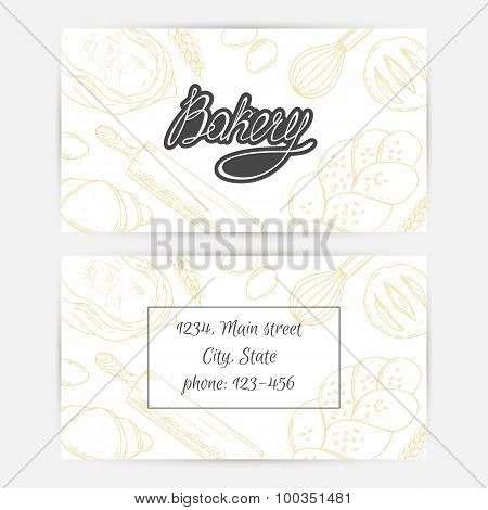 Bakery business cards with hand lettering logo. Sketched baking background