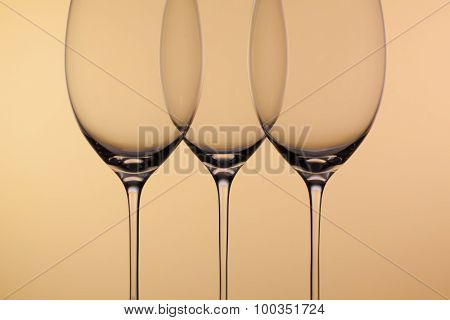 Three Empty Glasses Of Wine