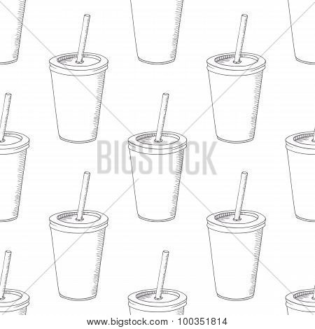 Seamless pattern with hand drawn cup of milk shake. Background for cafe, restaurant, eatery, diner,