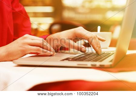 Woman with laptop in cafe shop