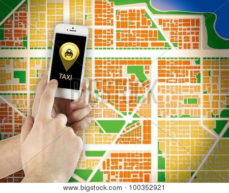 Hands holding mobile smart phone with interface taxi on map background