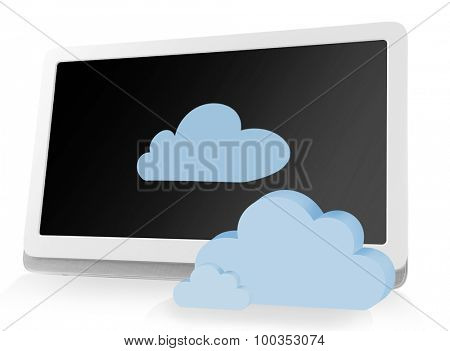 Tablet PC with clouds. Cloud computing concept