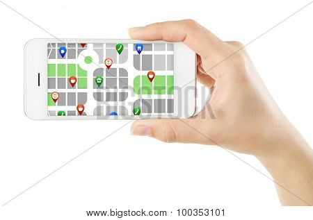 Male hand holding smart phone with map gps navigation application isolated on white