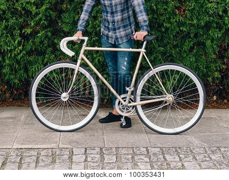 Fixie Bike Detail In Autumn Outdoors