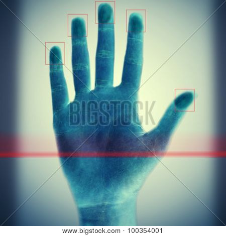 Scanning fingerprints on blue background
