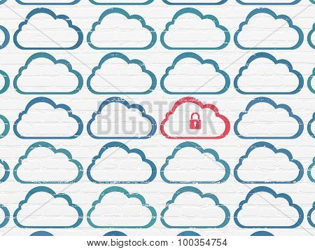 Cloud computing concept: cloud with padlock icon on wall background