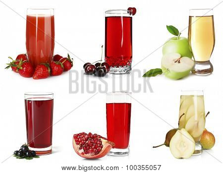 Different juices, isolated on white