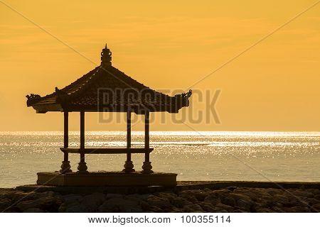 Silhouette Gazebo On The Dawn In Island Bali, Indonesia