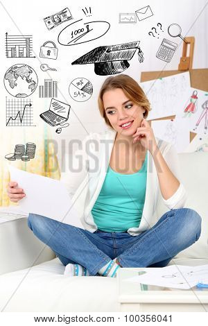 Young woman thinking of her plans