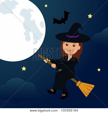 At night, the full moon witch flying on a broom.