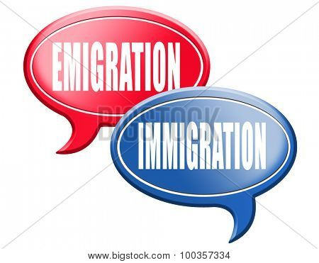 immigration or emigration political or economic migration by refugees or moving across the border by economic migrants sign