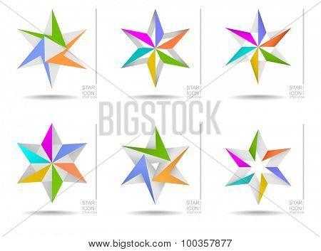 Vector illustration of colorful star design elements