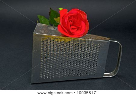 Kitchen Grater With Red Rose