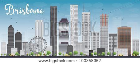 Brisbane skyline with grey building and blue sky