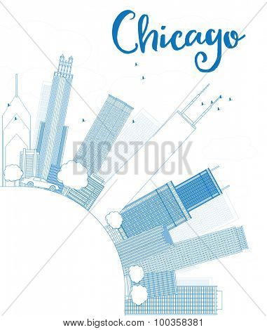 Outline Chicago city skyline with blue skyscrapers and copy space
