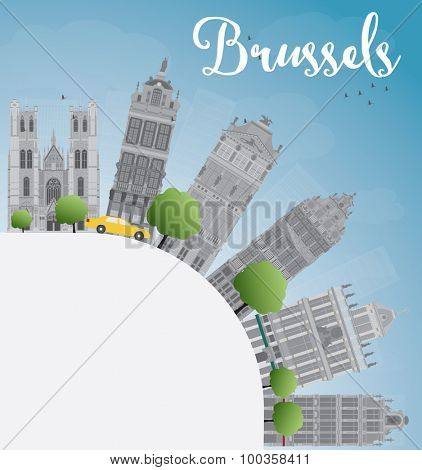 Brussels skyline with grey building, blue sky and copy space
